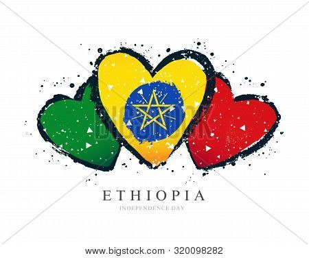 Ethiopian Flag In The Form Of A Big Heart. Vector Illustration On A White Background. Brush Strokes