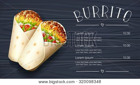 Burrito. Mexican National Traditional Food. Burritos With Cheese, Tomato, Stuffing, Tortilla. Black