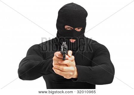 Portrait of a thief holding a gun isolated against white background