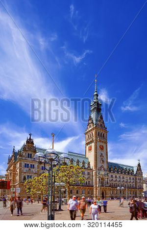 Townhall City Hall Tower In Hamburg, Germany On A Sunny Summer Day.