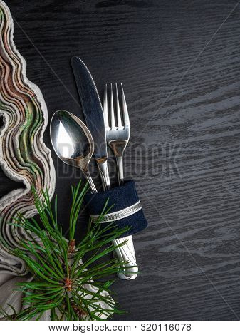 Table Setting With Christmas Decorations, Top View