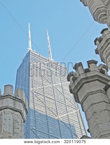 Chicago, Illinois - January 26, 2009. Details Of The Historic Water Tower, Landmark Survivor Of The