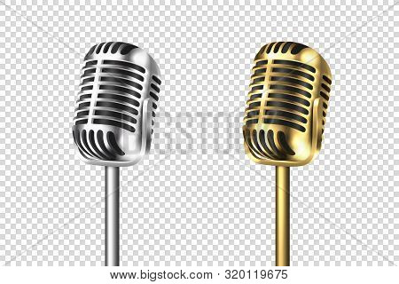 Vector 3d Realistic Retro Steel Silver And Gold Metal Concert Vocal Microphone Set Closeup Isolated