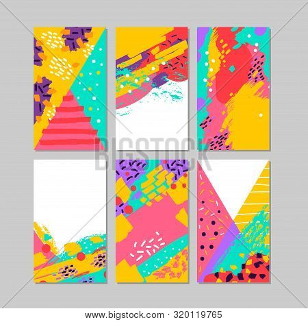 Set Of Brush Strokes Colorful Trendy Card. Hand Drawn Creative Flayers, Abstract Design Poster, Cove