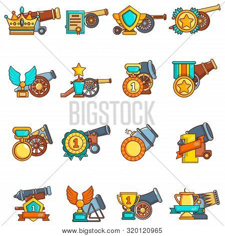 Artillery Reward Icons Set. Cartoon Set Of 16 Artillery Reward Vector Icons For Web Isolated On Whit
