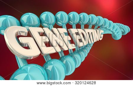 poster of Gene Editing Genetic Splicing Modify DNA Words 3d Illustration
