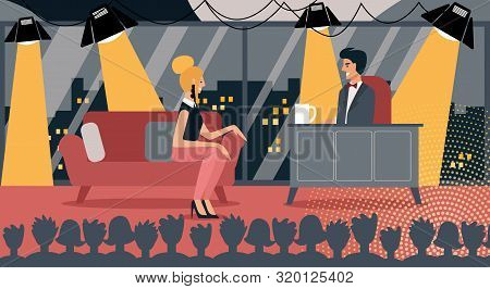 Famous Celebrity In Late Night Talk Show Vector Illustration. Woman Guest Man Host Discussion, Audie