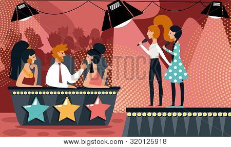 Talent Show Vector Illustration. Cartoon Girls Duet With Microphone Sing Song. Man Woman In Jury Jud