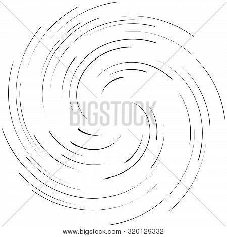 Detailed Twirl, Spiral Element. Whirlpool, Whirligig Effect. Circular, Rotating Burst Lines. Whirl R