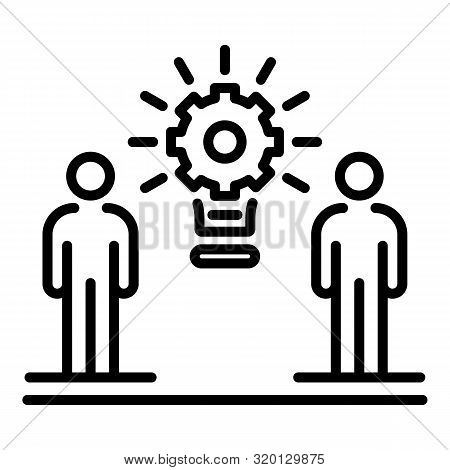 Two People And Gear Icon. Outline Two People And Gear Vector Icon For Web Design Isolated On White B