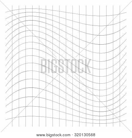 Wavy, waving grid, mesh of thin lines. Squeeze, stretch distort effect. Camber, crook deformation illustration. Distort array of intersect lines. Undulate, billowy warp effect poster