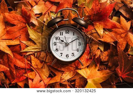 Autumn Season Time, Retro Vintage Alarm Clock In Dry Fall Leaves - Daylight Saving Time Concept