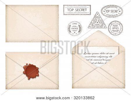 Vintage Envelope. Letter With Wax Seal And Stamps. Old Grunge Paper, Stamps Top Secret. Old Mail Del