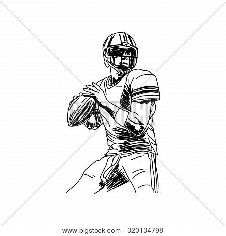 American Football Player, Hand Drawn Vector Illustration Isolated On White