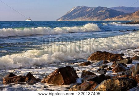Beautiful Scenic Seascape Of Black Sea By Bolshoy Utrish, Anapa, Russia With Flock Of Sea Gulls Flyi