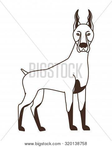 Silhouette Of Cute Doberman Dog On White Background Vector Illustration Design