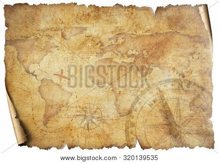 Vintage old travel world map isolated on white. Based on image furnished from NASA.