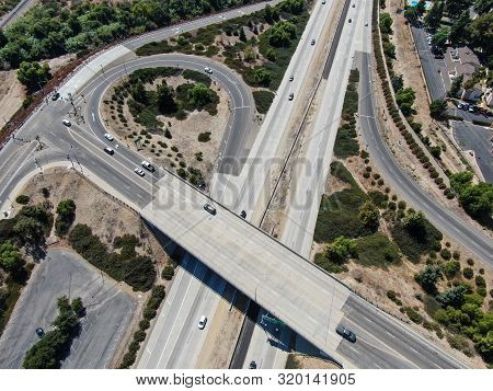 Aerial View Of Highway Crossing The Little Town Moorpark. Ventura County, California