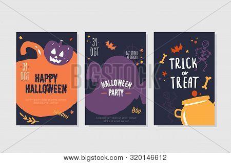 Halloween Party Poster Invitation. Pumkin, Ghost Decor. Spooky Flyer