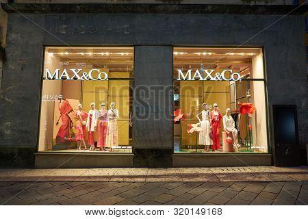 VERONA, ITALY - CIRCA MAY, 2019: storefront of a MAX&Co shop in Verona.