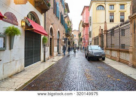 VERONA, ITALY - CIRCA MAY, 2019: a view of a street located in Verona, Italy.