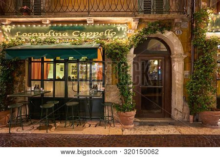 VERONA, ITALY - CIRCA MAY, 2019: a view of Locandina Cappello restaurant located in Verona, Italy.