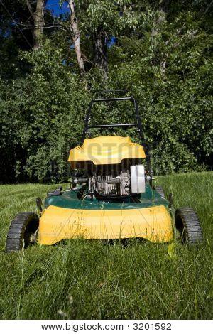 Lawnmower Cutting Long Grass In A Backyard, Close Up