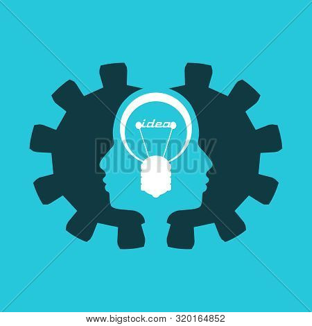 Lamp And Heads Of The Two Person. Lamp Head Businessman. Illustration Of Brainwork, Idea Appearance.