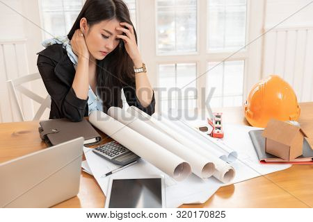 Office Syndrome Concept, Asian Woman Has Healthy Problem With Part Of Body Arm Shoulder Head Neck Ba