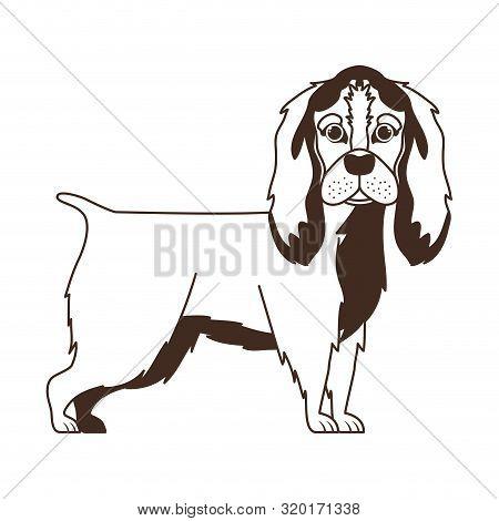 Silhouette Of Cute Cocker Spaniel Ingles Dog On White Background Vector Illustration Design