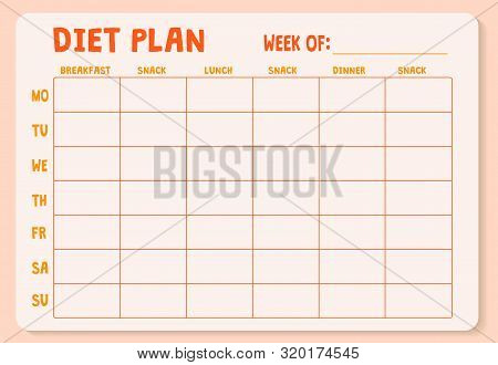 Weekly Diet Plan. Meal Plan For A Week, Calendar Page, Shopping List, Water Drinking Schedule. Diet