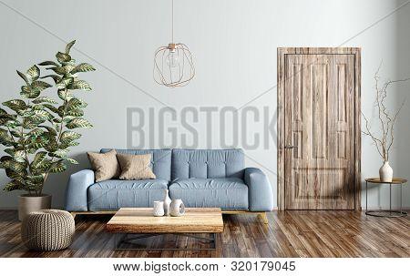 Modern Interior Design Of Living Room With Blue Sofa, Wooden Coffe Table, Door 3d Rendering