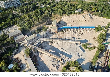 Aerial View Of The Processing Plant With The Sand Fractionator At The Edge Of A Quartz Sand Quarry P