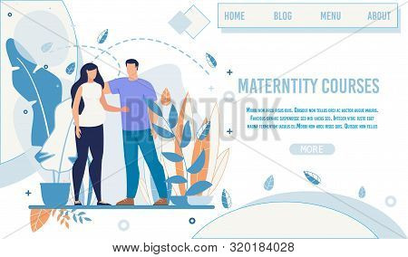 Flat Landing Page Offer Maternity Courses And Training For Future Mothers. Cartoon Woman In Baby Ant