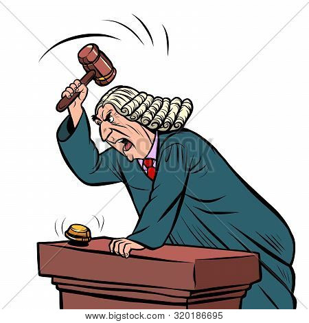 The Judge In The Robe Pronounces Sentence In The Courtroom. Pop Art Retro Vector Illustration Drawin