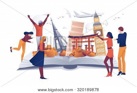 Cartoon People Near Open Book Famous Landmarks Vector Illustration. Man Woman Traveler. Travel Aroun