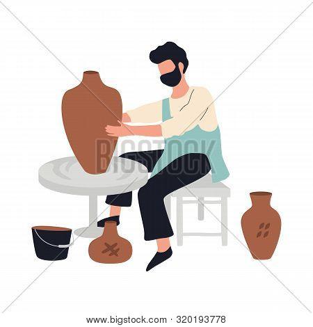 Man Potter Making Ceramic Bowl And Pot. Craftsman