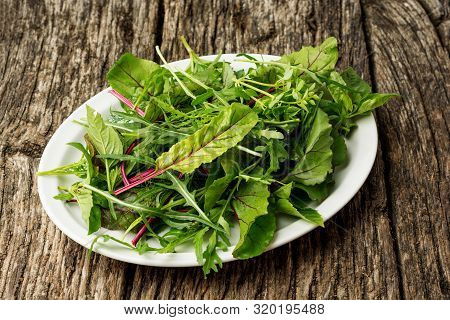 Fresh Salad Plate With Mixed Greens Arugula, Mesclun, Mache On Dark Wooden Background Close Up. Heal