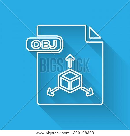 White Line Obj File Document. Download Obj Button Icon Isolated With Long Shadow. Obj File Symbol. V