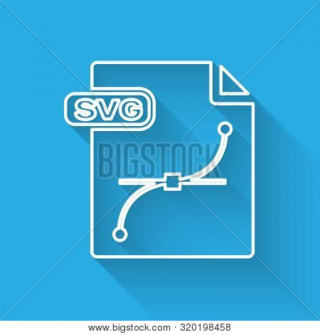 White Line Svg File Document. Download Svg Button Icon Isolated With Long Shadow. Svg File Symbol. V