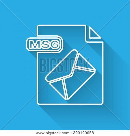 White Line Msg File Document. Download Msg Button Icon Isolated With Long Shadow. Msg File Symbol. V