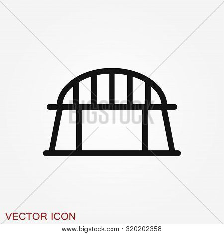 Bridge Icon In Flat Style. Road Business Concept.