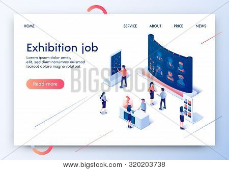 Exhibition Job Horizontal Banner. People Walking Near Huge Screen With List Of Profession Offers. Ad