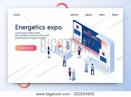 Energetics Expo Horizontal Banner. Exhibition Center Stand With Graphs And Tiny People In Casual And