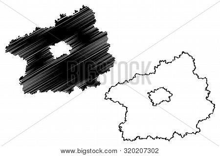 Central Bohemian Region (bohemian Lands, Czechia, Regions Of The Czech Republic) Map Vector Illustra
