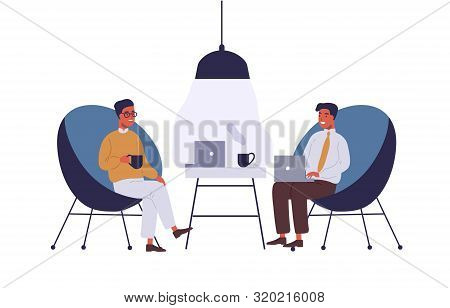 Business Lounge Zone Flat Vector Illustration. Coworkers Having Lunch Break At Office Relax Area. Bu