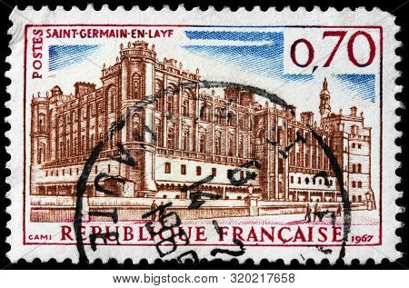Luga, Russia - September 02, 2019: A Stamp Printed By France Shows Chateau De Saint-germain-en-laye