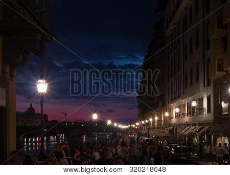 Night Time View Of Florence, Ponte Vecchio, Palazzo Vecchio And Florence Duomo, Italy. Florence Arch