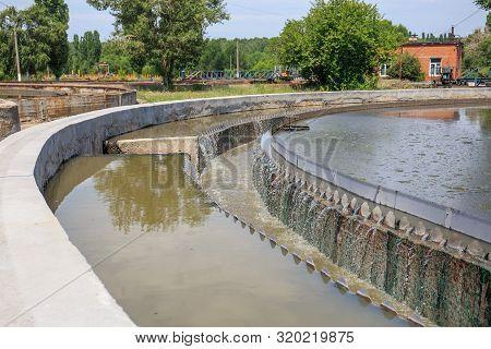 Sedimentation Round Tank In Modern Sewage Or Wastewater Treatment Plant.