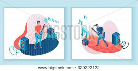 Guitar Player 3d Isometric Infographic Illustration Set, Man Playing Rock Music, Concert Show Poster
